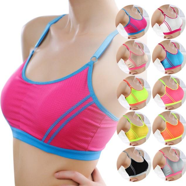 Women Yoga Athletic Solid Wrap Chest Strap Vest Tops Bra