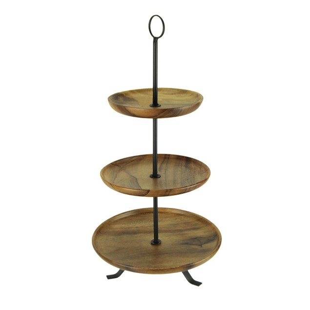 Rustic Round Wood Standing 3 Tiered Serving Tray Decorative Trays