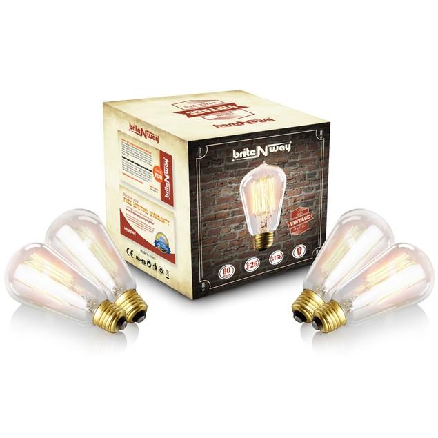 4-Pack Vintage Edison Bulb 60w - ST58 Teardrop Top - 120V - 170 Lumens