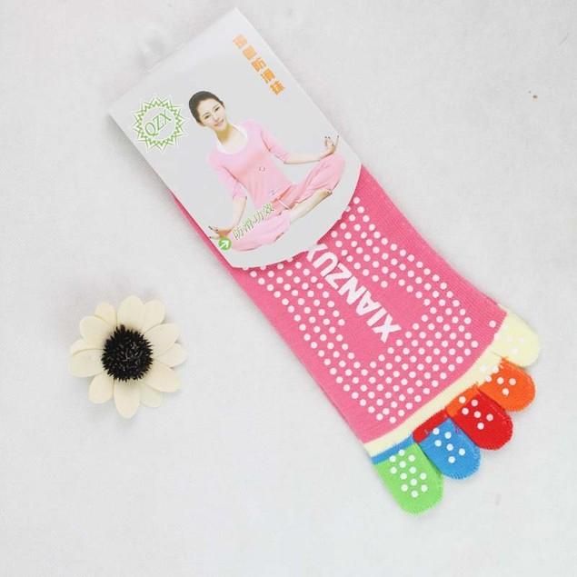 Womens 5-Toe Yoga Gym Non Slip Massage Toe Socks Full Grip