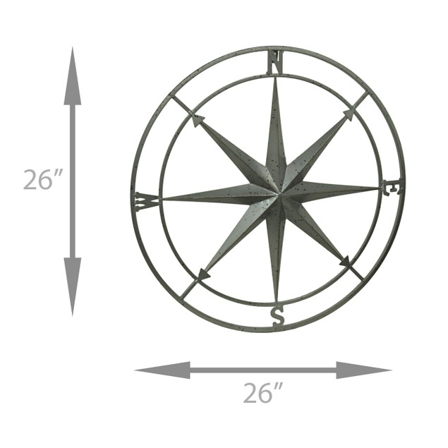 Weathered Silver Finish Framed Compass Rose Metal Wall Sculptures