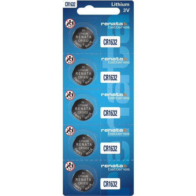 Renata CR1632 Lithium Coin Cell Batteries (5 Batteries)