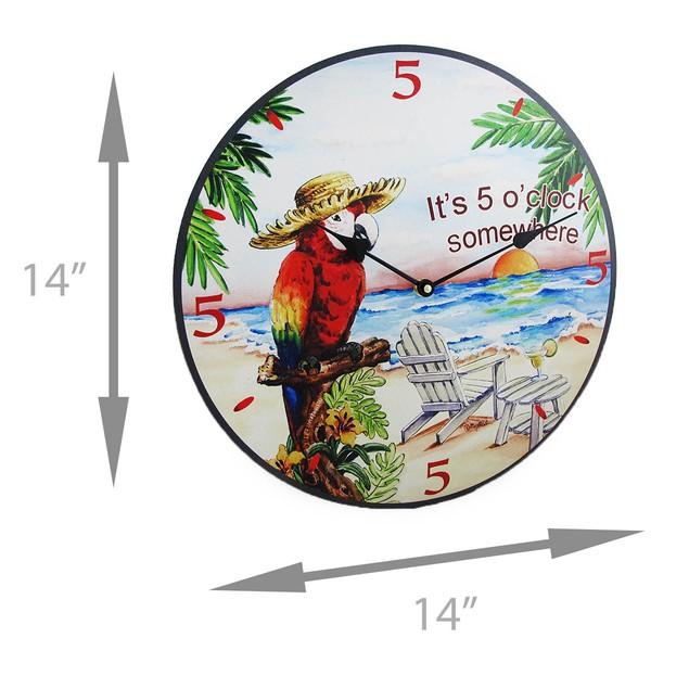 Its Five O Clock Somewhere Tropical Parrot Wall Wall Clocks