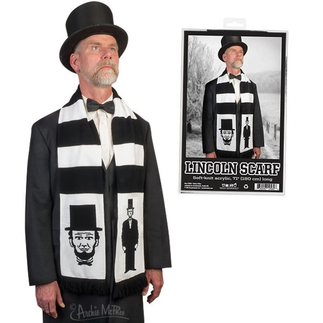 Lincoln Scarf Winter Warm Accessory Black Mens Abraham Lincoln Adult Child