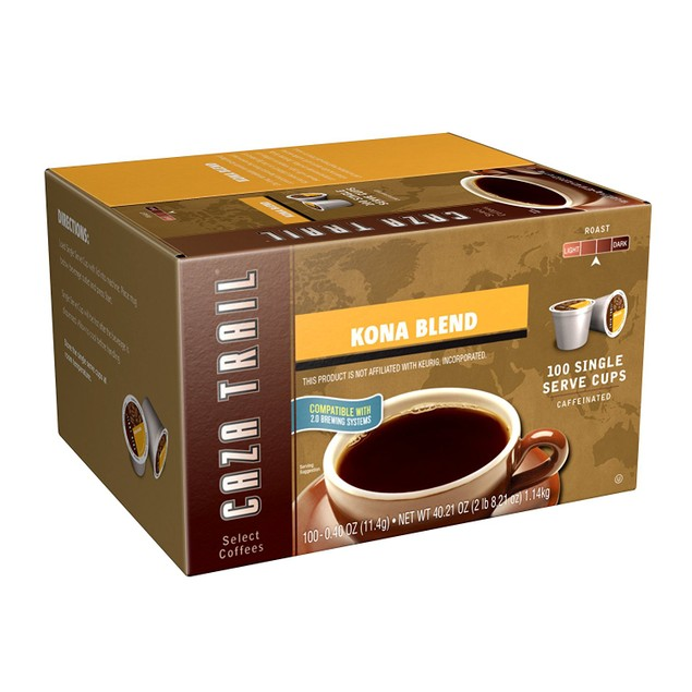Caza Trail Coffee, Kona Blend or Dark Roast - 200 Total Single Serve Cups