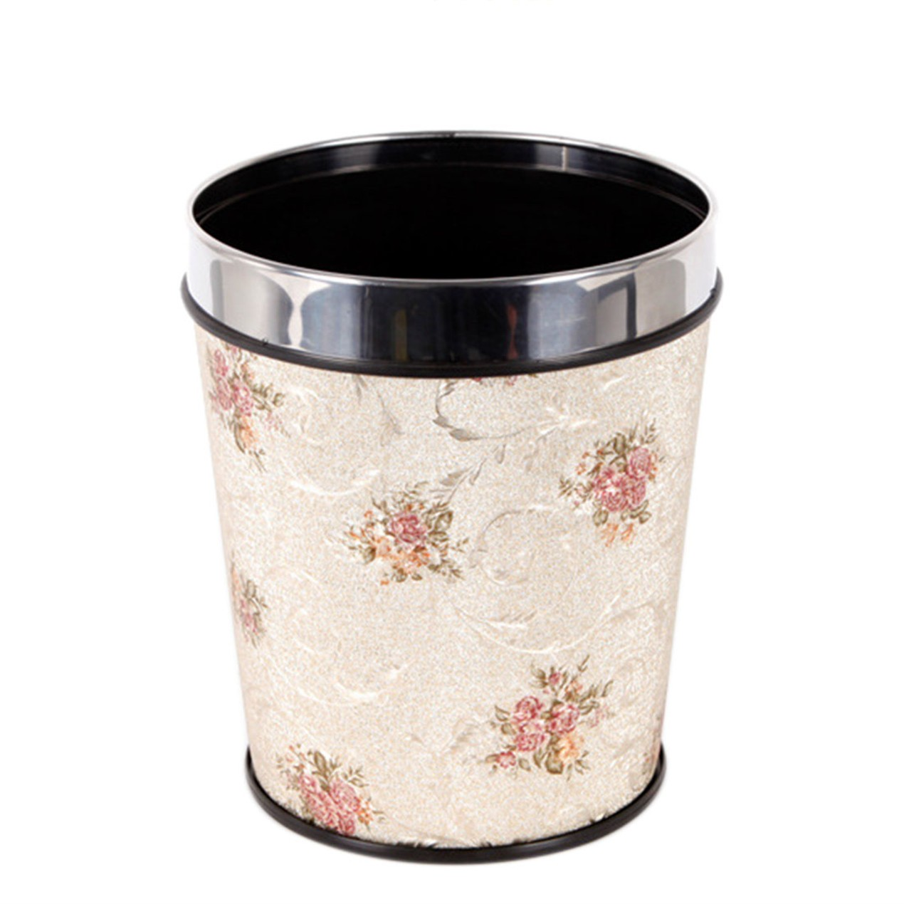12l Pp Trash Can Hotel Home Office Wastebasket Chinese Flowers Style