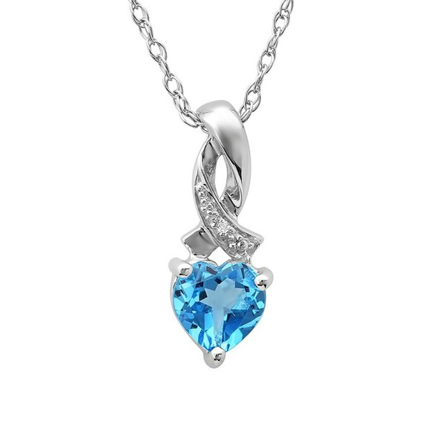 1ct Heart Shape Swiss-Blue Topaz and Diamond Pendant in Sterling Silver