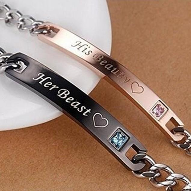 Her Beast King His Beauty Queen Couple Lovers Titanium Steel Bracelet