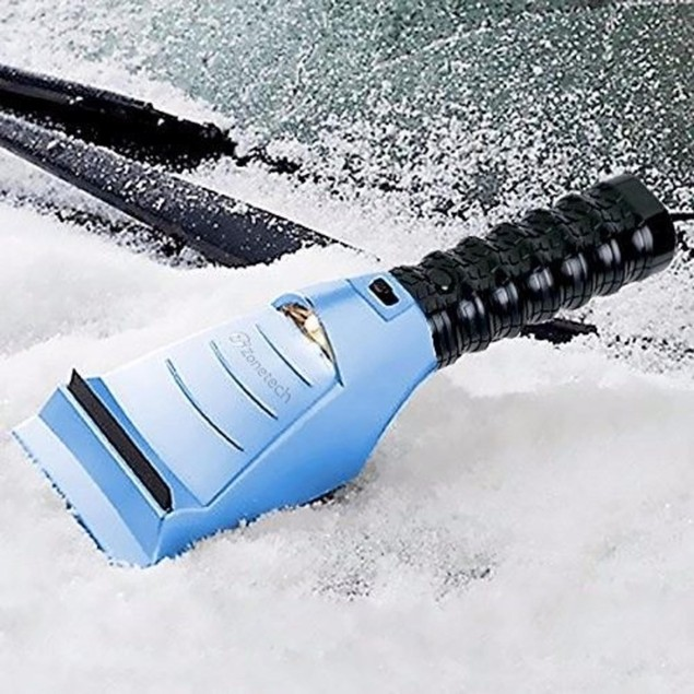 Zone Tech Heated Car Window Snow Ice Scraper LED Light Blue 12V 14 Ft. Cord