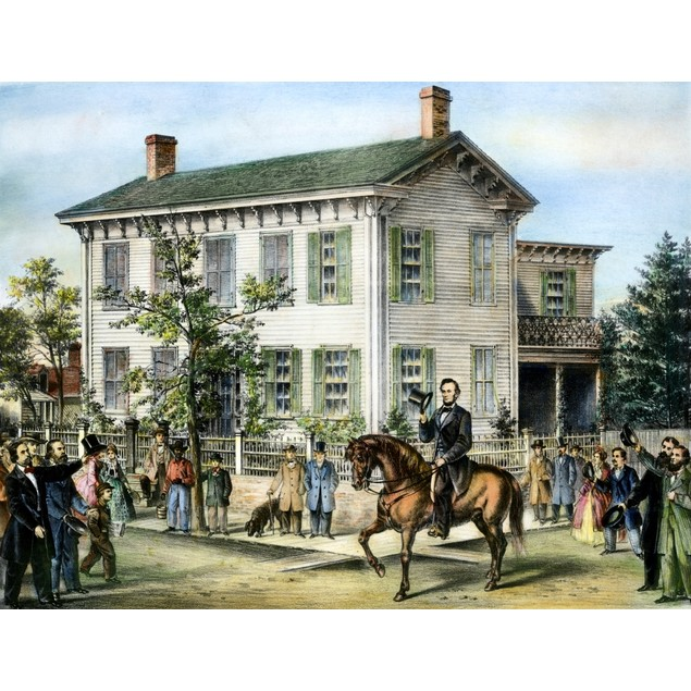 Lincoln: Home, 1865./Npresident Abraham Lincoln Riding Past His Home In Spr