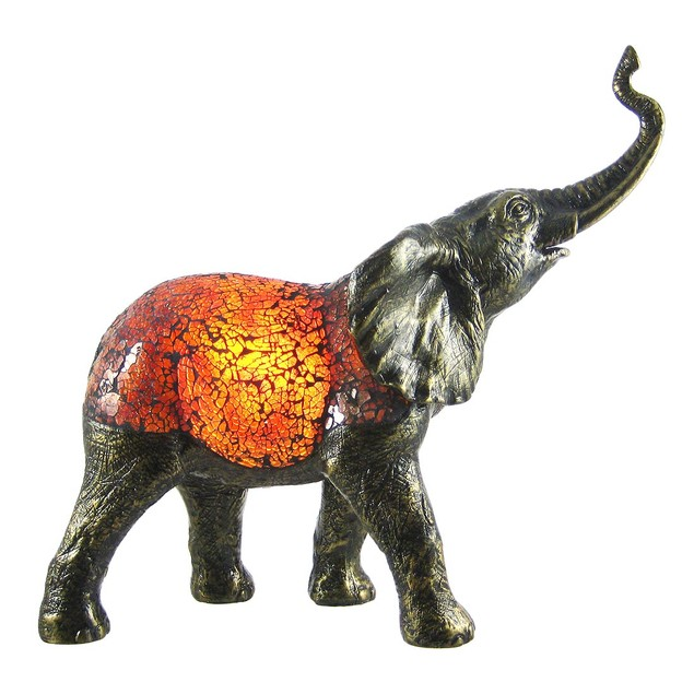 Amber Crackle Glass Elephant Accent Lamp Bronzed Accent Lamps