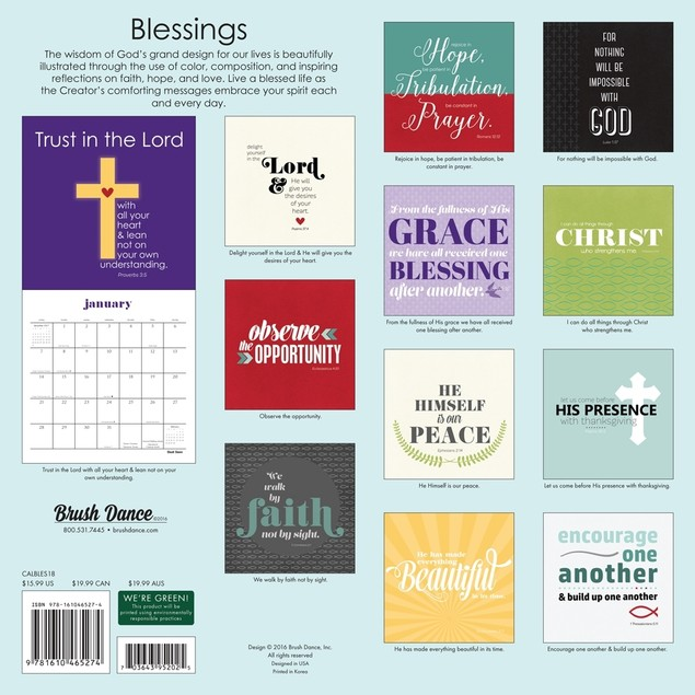 Blessings Wall Calendar, Inspirational Quotes by Brush Dance