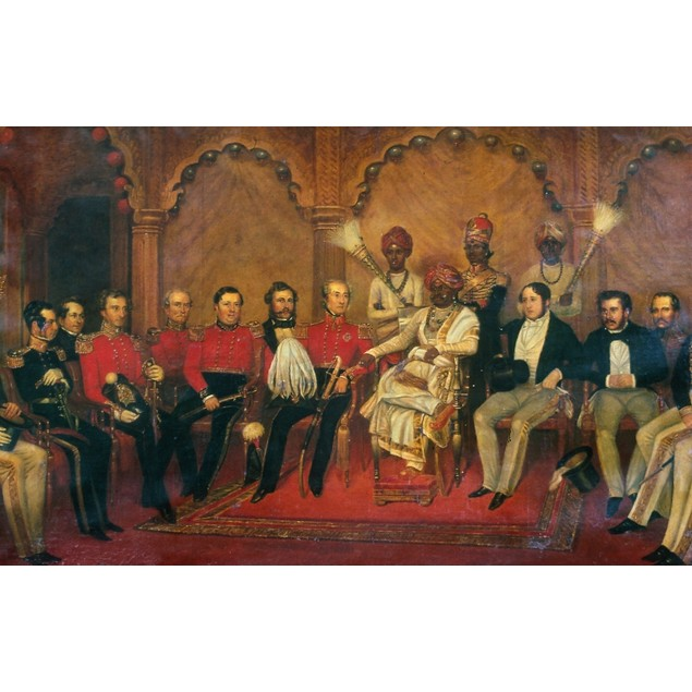 India: Durbar, 19Th Century. /Neuropean Durbar Held By An Indian Maharaja,