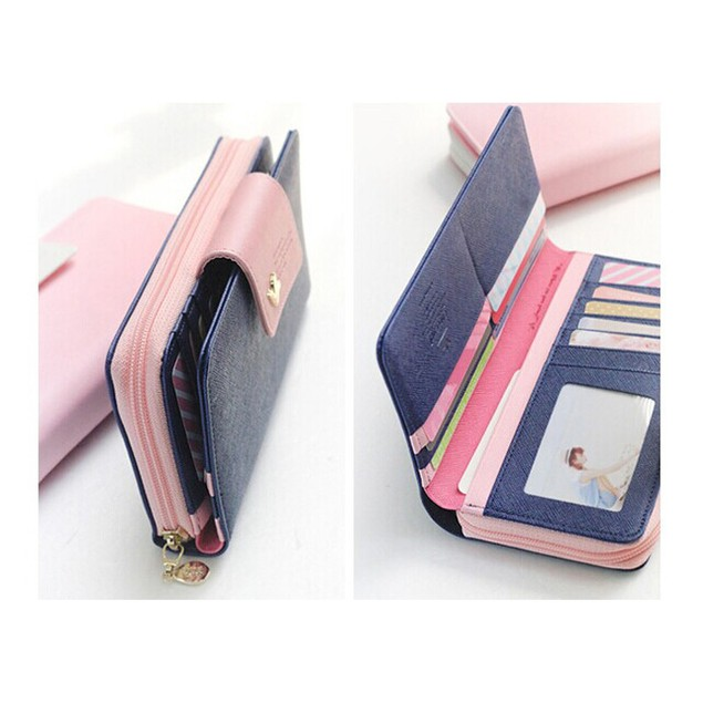 Birds Clutch Wallet Leather Case Long Zip Button Card Purse Handbag