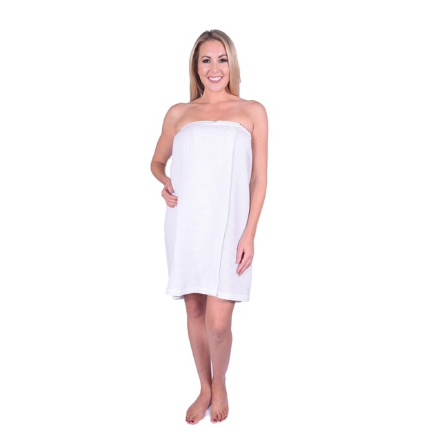 Waffle Cotton Spa Body Wrap / Sarong with Velcro Closure for Women