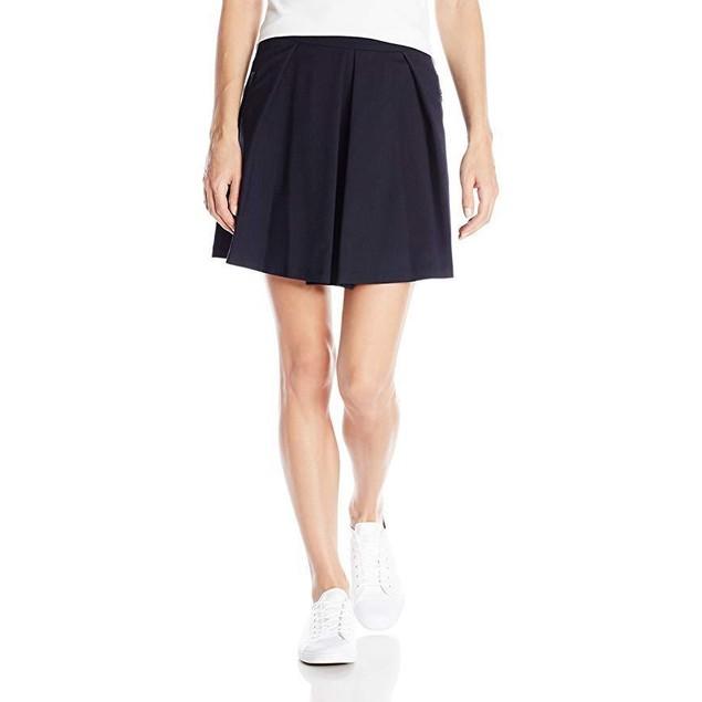 Lacoste Women's Wool Pique A-Line Skirt, Midnight, 40