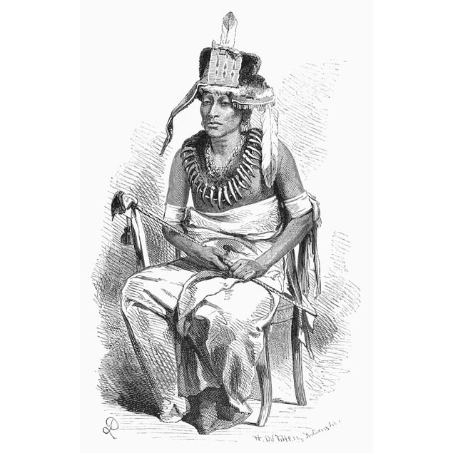 Pawnee Chief, 1868. /Nne-Sho-Ra-Re-Ra-Hi-Kuts, A Chief Of The Pawnee. Wood