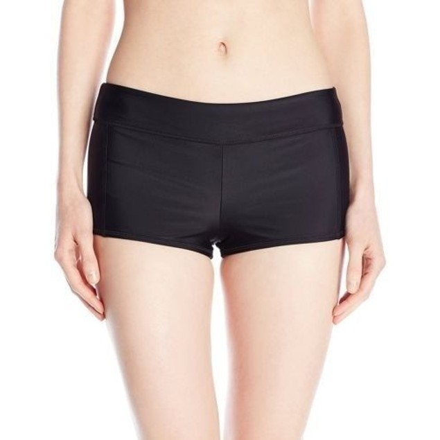 NWT Speedo Women's Solid Boyshort Bikini Bottom, Black, SZ MEDIUM