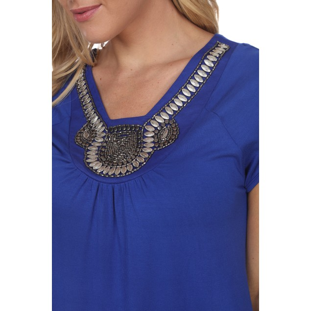 Fayrah Embellished Top - 7 Colors - Extended Sizes
