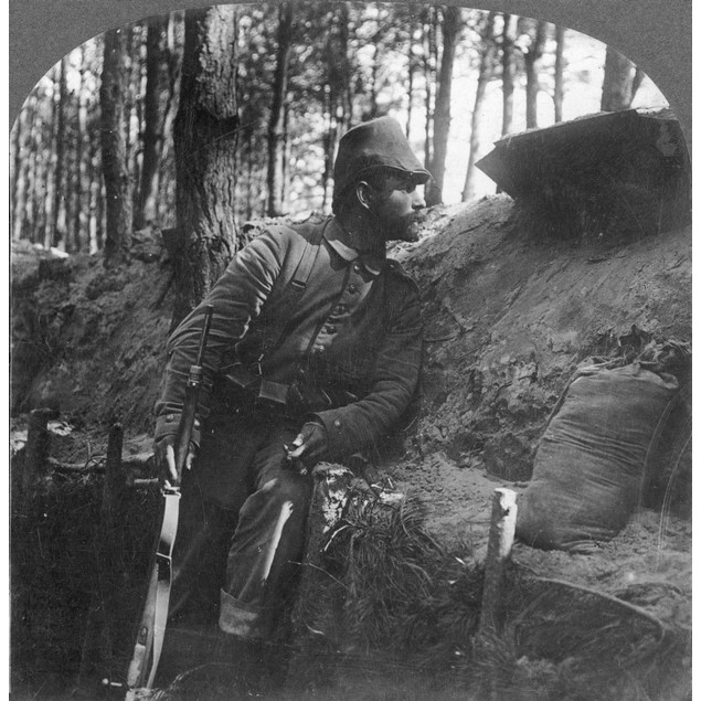 World War I: Soldier. /Ngerman Soldier On Watch From His Trench On The Russ