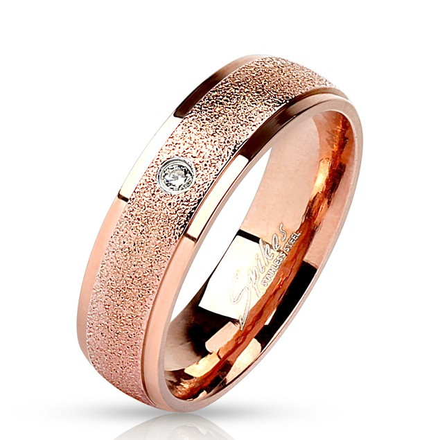 Sanded Center with Clear CZ Rose Gold IP Stainless Steel Ring