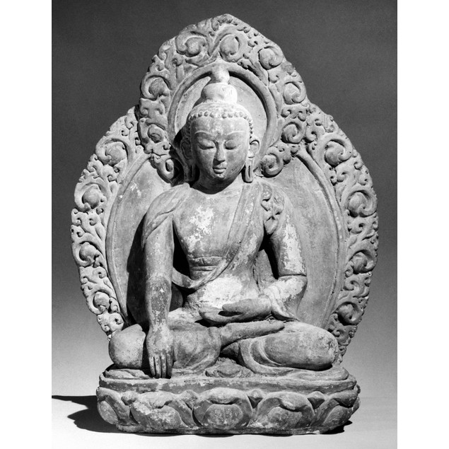 Nepal: Buddha. /Nbuddha In Earth-Touching Mudra (Gesture). Terracotta, 16Th
