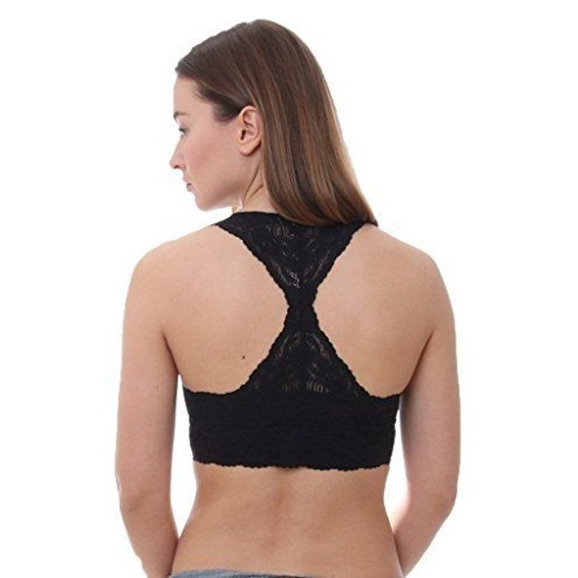 Free People Women's Galloon Lace Racerback OB590924 Black Bra SZ: MEDI