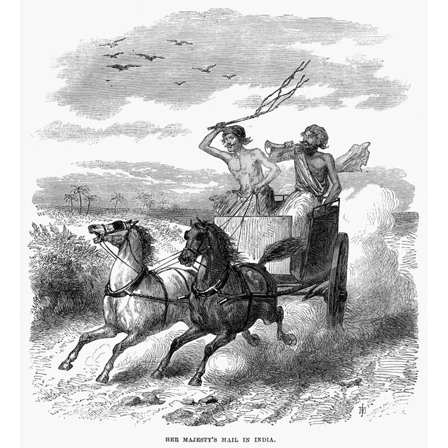India: Mail Carrier, 1867. /Nher Majesty'S Mail In India. Wood Engraving, 1