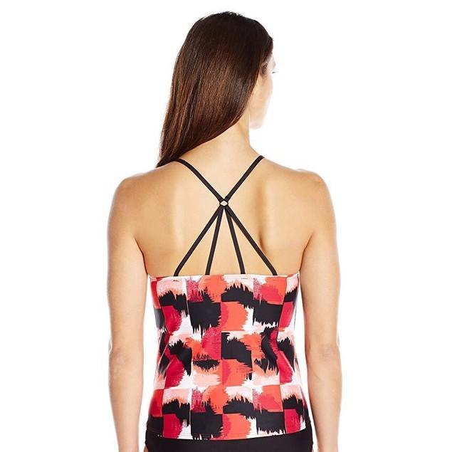 LOLE Women's Muara Tankini Swimsuit Top Shirt, Ruby Mirage, X-Small