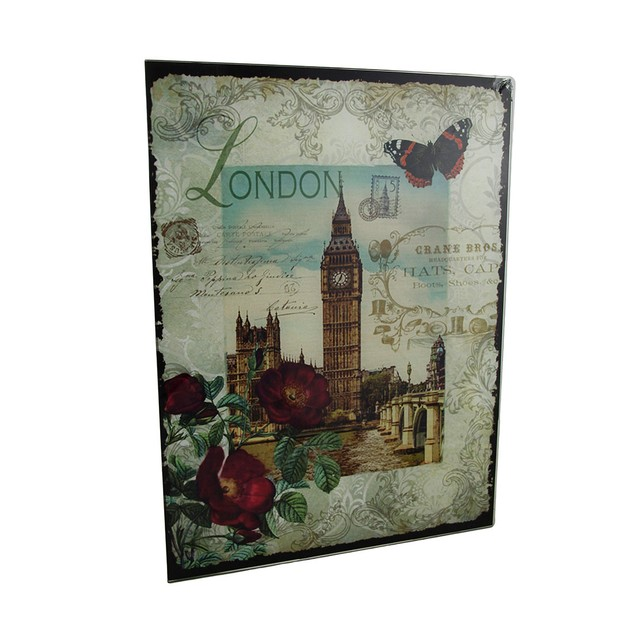 Decorative London Big Ben Floral Glass Wall Decorative Plaques