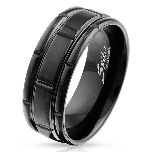 Box Grooved Black IP Stainless Steel Ring