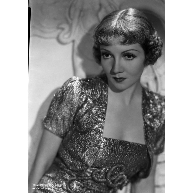 Claudette Colbert Posed in Glossy Dress with Dark lipstick Poster