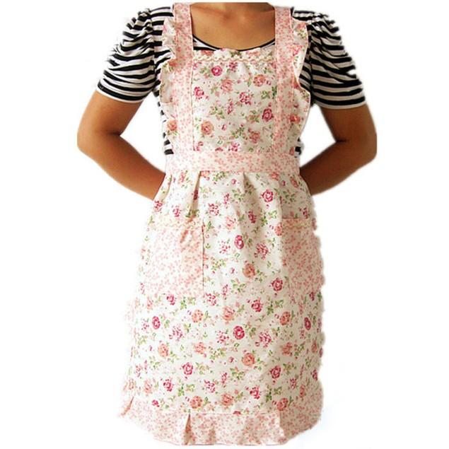 Flower Style Pocket Lace Apron Dress Women Home Kitchen Cooking Bib
