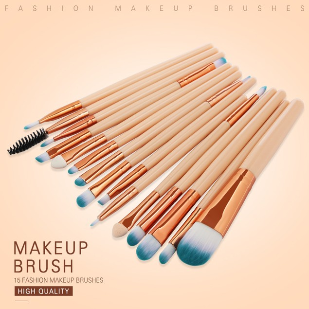 15pcs Cosmetic Makeup Brush Blusher Eye Shadow Brushes Set Kit