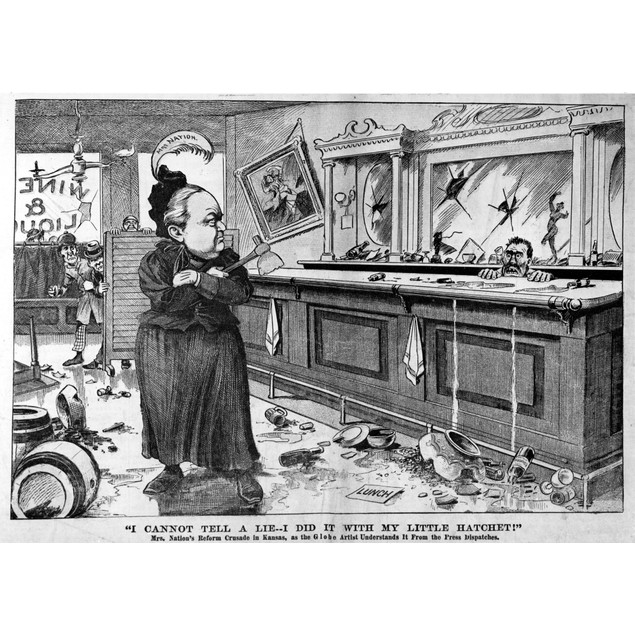 Carry Nation (1846-1911). /Namerican Temperance Agitator. Cartoon From The