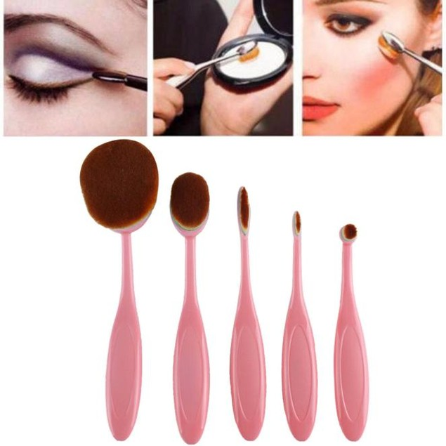 5PC Toothbrush Eyebrow Brush Foundation Eyeliner Makeup Brushes
