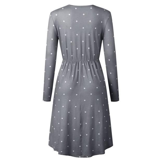 Long Sleeve Pleated Polka Dot Midi Dress