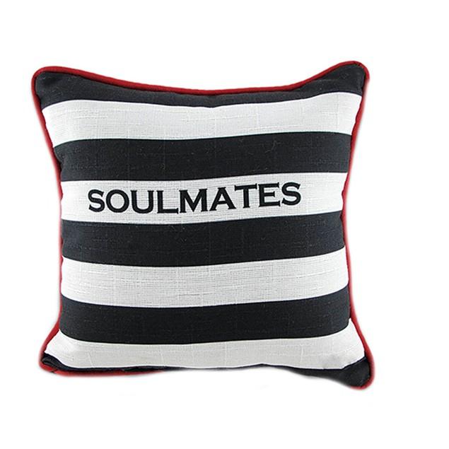 Pair Of Black/White Striped Soulmates/Cellmates Throw Pillows