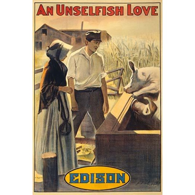 A silent era film poster of a man and a woman standing by a hog pen.  This