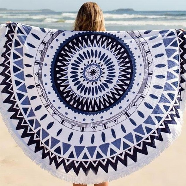 Abstract-Design Round Beach Towel