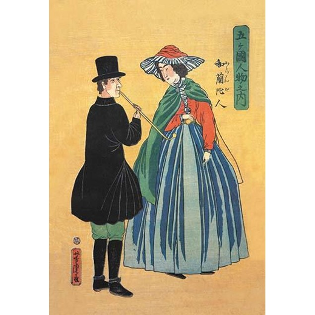 Japanese print of a Dutchman smoking a clay pipe along witha Japanese woman