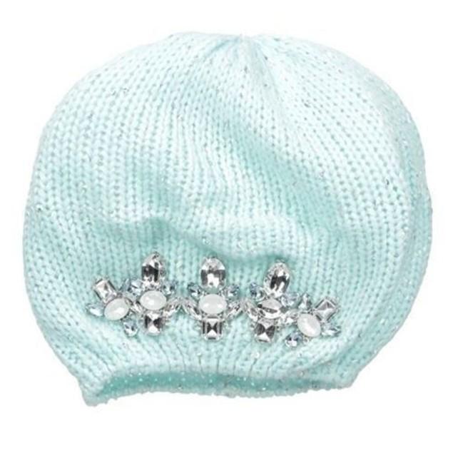 ABG Accessories Big Girls' Embellished Stones Beret, Blue, One Size