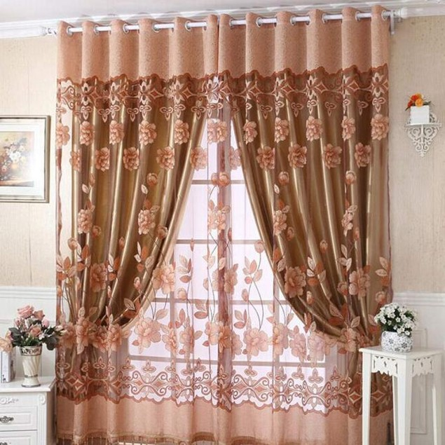 Print Floral Voile Window Curtain