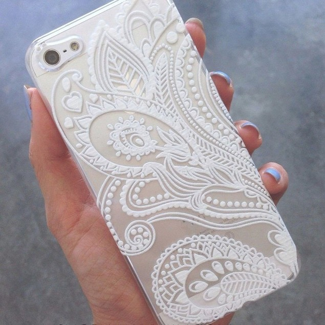 Henna White Floral Flower Plastic Case Cover Skin for iPhone 6s 4.7Inch