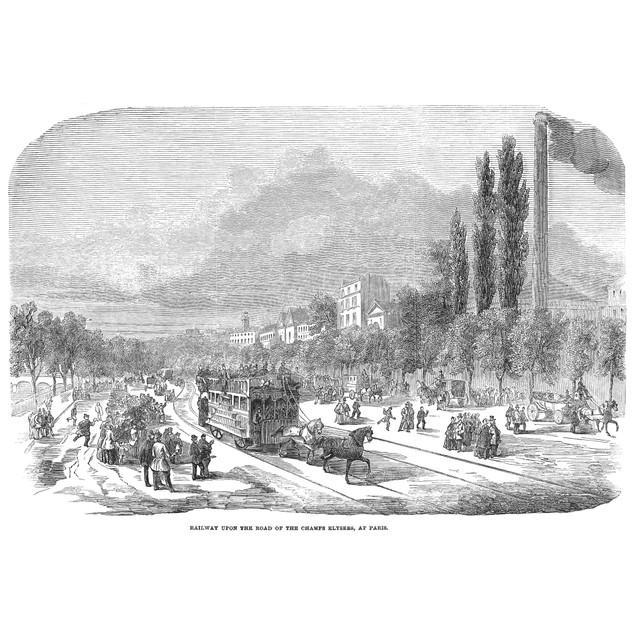 Street Railway, 1853. /Na Horse-Drawn Car On The New Street Railway Along T