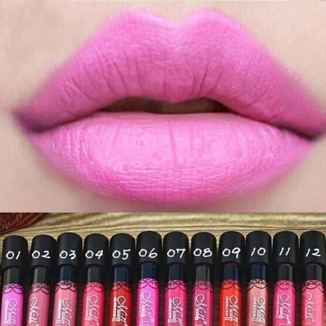 12-Piece Waterproof Lip Gloss Matte Long Lasting Lipstick Pencil