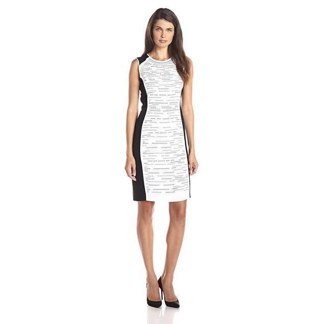Calvin Klein Women's Colorblock Dress with Stones, Soft White, 12