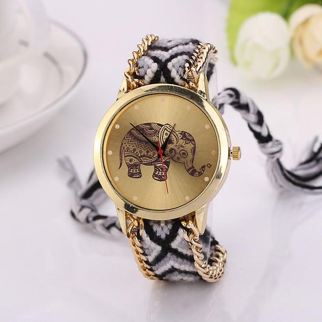 Women Elephant Pattern Weaved Rope Band Bracelet Quartz Dial Wrist Watch