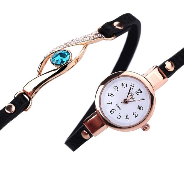 Fashion Women Diamond Wrap Around Leatheroid Quartz Wrist Watch