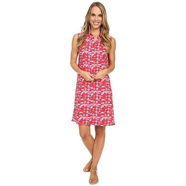 Hatley Women's Sleeveless shirtdress Fuchsia Triangles Dress  SZ XS